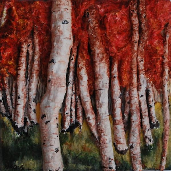 Birch Trees In Autumn Art | Alison Galvan Fine Art