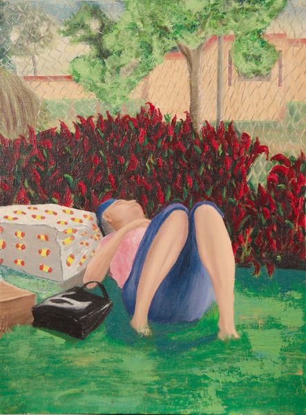 Asleep,Park,Hollywood,California,Woman