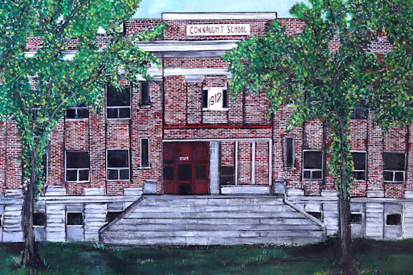Painting of Regina Building depicting beloved elementary school, Connaught School