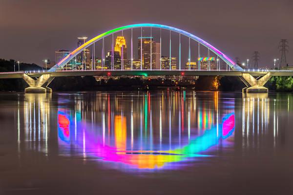 Minneapolis Lowry Bridge Pride Colors - Twin Cities Skyline | William Drew