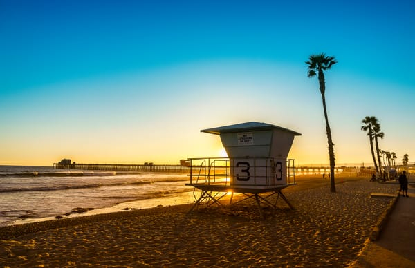 Summer sunset at Oceanside Pier print.