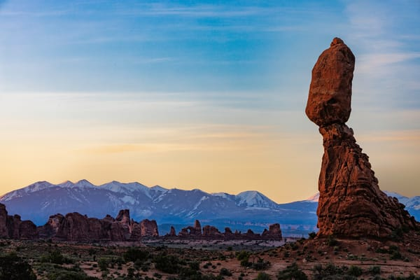 Sunrise at Balance Rock in Arches National Park