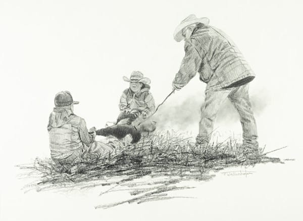"Raymond Wattenhofer Fine Art Drawing ""Ground Crew"""