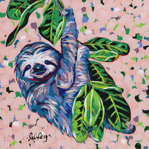 Original painting of a three-toed sloth.