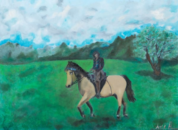 cowgirl, bushskin horse, commission, oil painting,