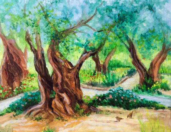 Garden of Gethsemane Original Acrylic Plein Air Landscape Painting by American Artist Hilary J England