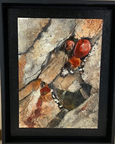 geologic, acrylics, abstract, mixed media, textures, painted papers, rocks, burnt Sienna, black, neutral greys,art