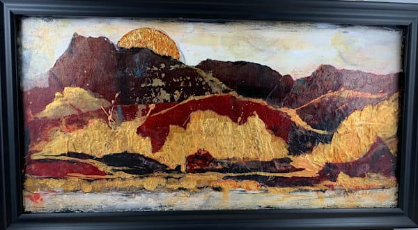 Acrylic, landscape, mixed media, abstract, hand painted papers, textures, reds, golds, blacks. art