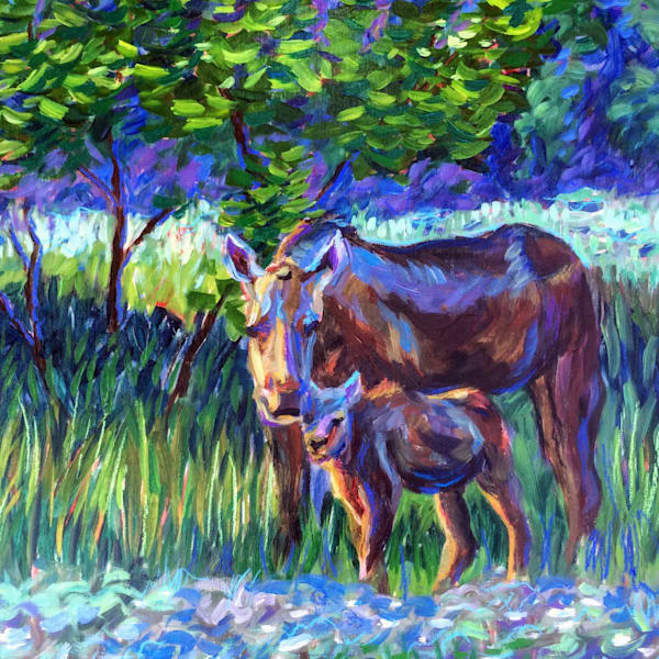 Moose Cow and Calf - Impressionism