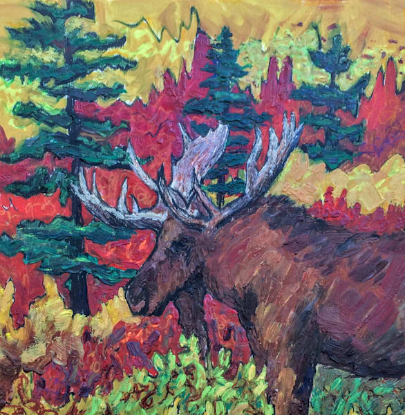 Alaska Bull Moose in Autumn, Red, Gold, Wildlife  - Art Print by Amanda Faith Thompson