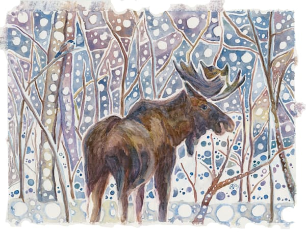 Winter Walk, Bull Moose   Alaska Art Print Art | Amanda Faith Alaska Paintings / Estuary Arts, LLC