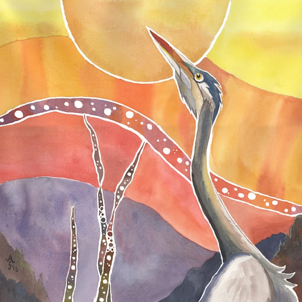 Heron's Vespers   Alaska Art Print Art | Amanda Faith Alaska Paintings / Estuary Arts, LLC