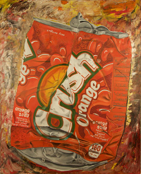 Crushed,Orange,Soda,Can,