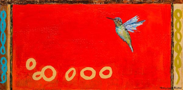 Bright Red Hummingbird Original Painting