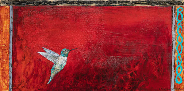 Hummingbird With Textured Red Background Painting