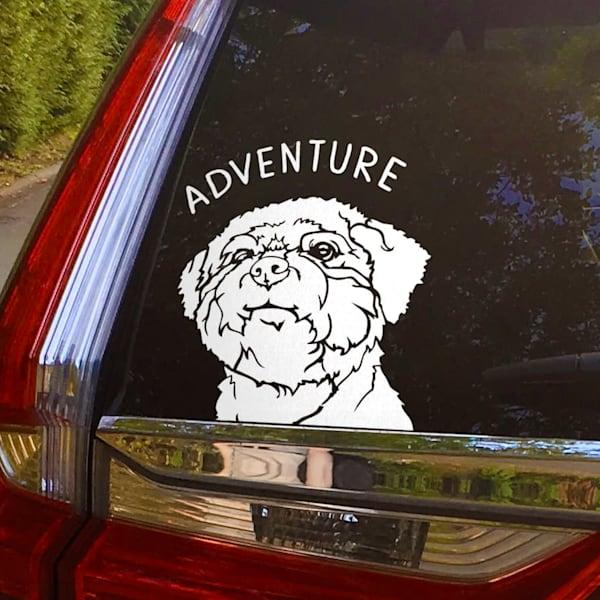 "6"" X 6"" Adventure Buddy Sticker | Van Isle Dog Art"