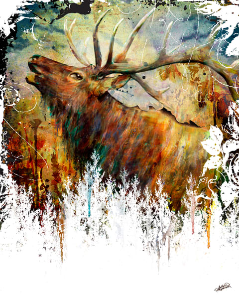 Mixed Media Elk Painting