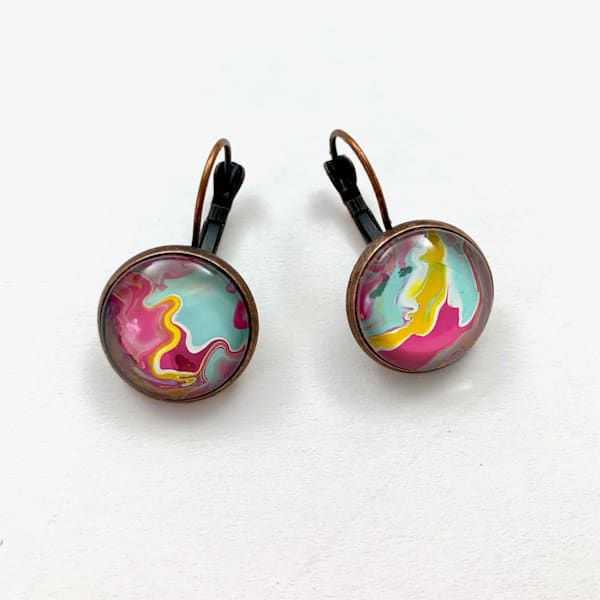 Cotton Candy Hand Painted Earrings |  Deborah Younglao