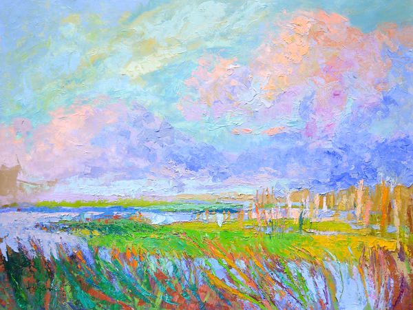 Beautiful Marsh Landscape Painting Fine Art Print by Dorothy Fagan