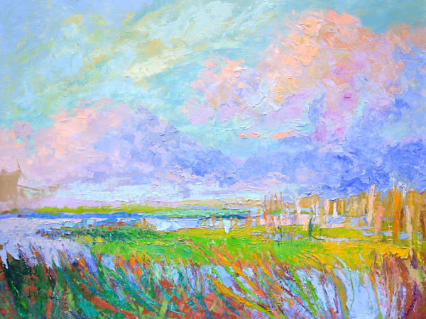 Large Marsh Landscape, Original Oil Painting by Dorothy Fagan