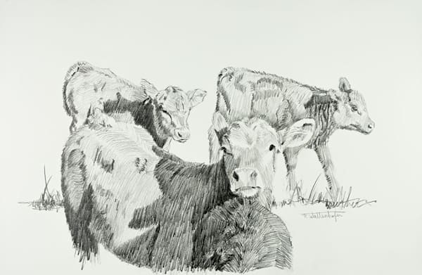 Raymond Wattenhofer Graphite Art On Paper - Spring Trio
