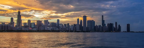 Chicago Panoramic Sunset - Chicago Skyline Pictures for Sale | William Drew