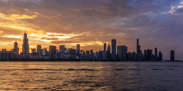 Chicago Skyline Sunset from the Adler Planetarium - Chicago Pictures for Sale
