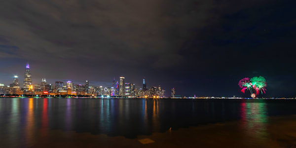 Independence Day Fireworks at Chicago - Chicago Skyline Photos for Sale