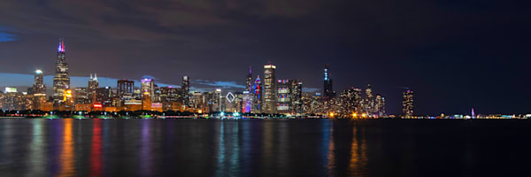 Red White and Blue Chicago Skyline