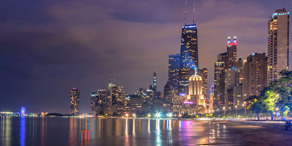 Chicago Skyline Reflections in Lake Michigan