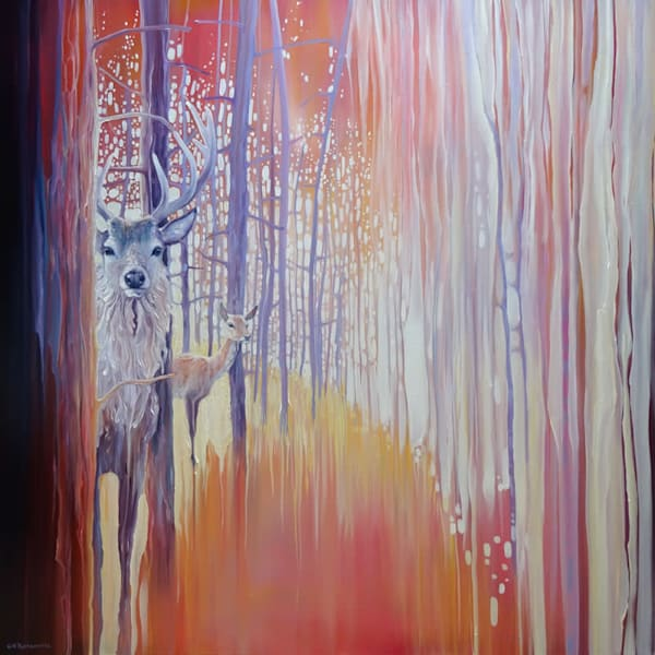 original oil painting of a stag and a doe in an autumn forest in art nouveau, impasto, semi abstract style