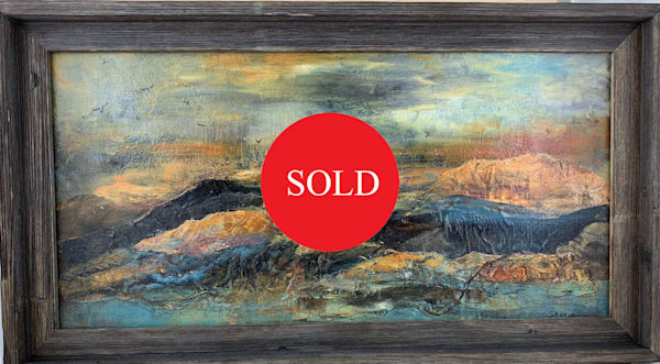 Acrylic paint, hand painted papers, mixed media, abstract, textures, sunset, golds, blues, blacks, art