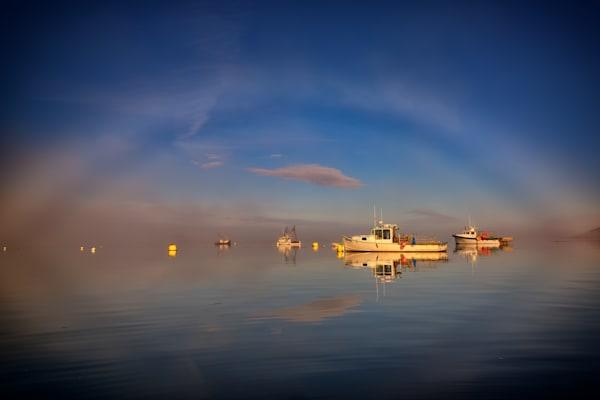Fogbow in Lubec Harbor by Rick Berk