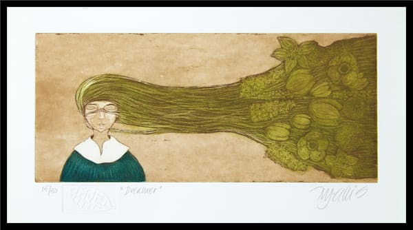 Dreamer, a girl with flowers in her hair, printed from a copper plate etching, an original print by Mariann Johansen-Ellis, art, paintings