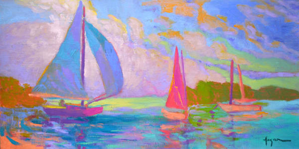 Colorful Sailboats Sunset Oil Painting, West Wind by Dorothy Fagan