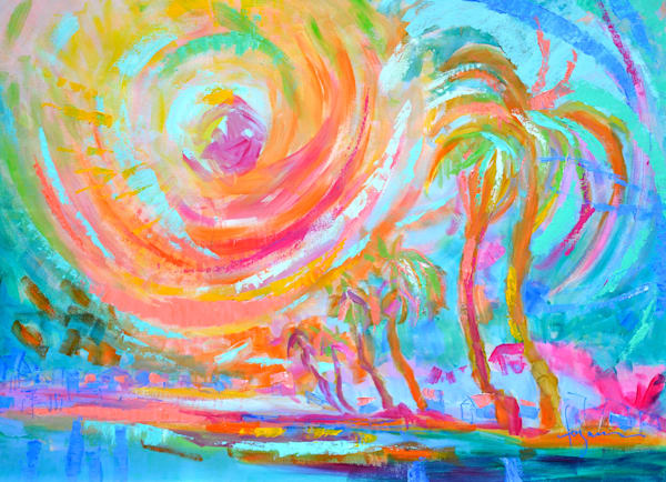 Palm Trees Sunset Painting, Original Oil by Dorothy Fagan