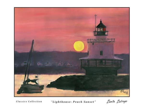010 Lighthouse   Peach Sunset Art | Blissful Bonita Art Studio & Gallery