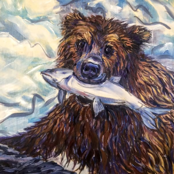 Alaska Bear with Salmon art print by Amanda Faith