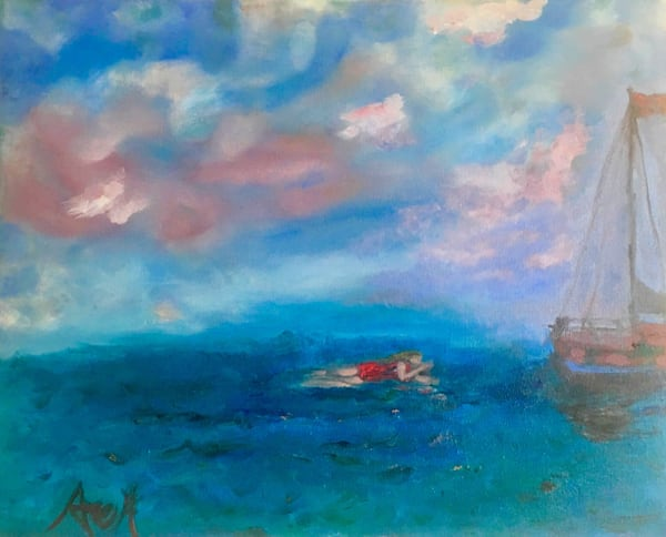 SWIMMING TOWARD ANCHORED SAILBOAT giclee print original art