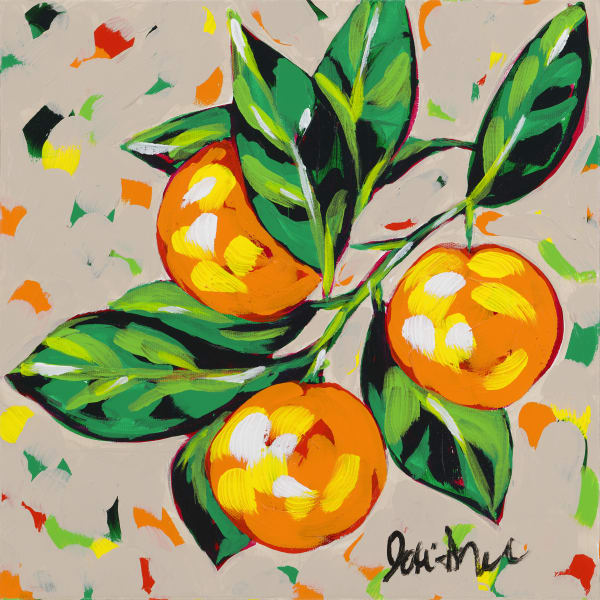 Fine art print of oranges on a branch with rich colored leaves.
