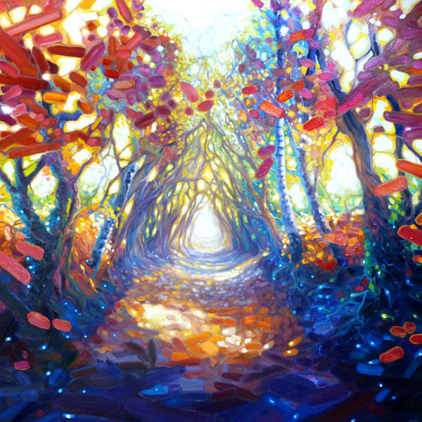 a print on canvas or paper of an autumn path though a wood on a sunny day
