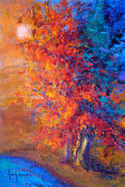 Red Tree Abstract Painting, Fine Art Print Canvas by Dorothy Fagan