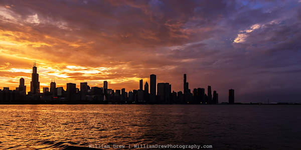 Hot and Cold Chicago Skyline - City Skyline Wall Murals - William Drew