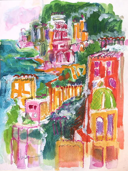 Positano Gardens Watercolor painting, Original Art by  Dorothy Fagan