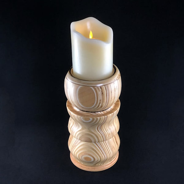 Turned Natural Wood Candle Holder