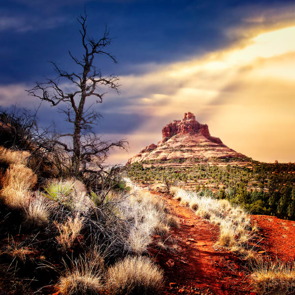 A trail leads to iconic Bell Rock in Sedona, Arizona.