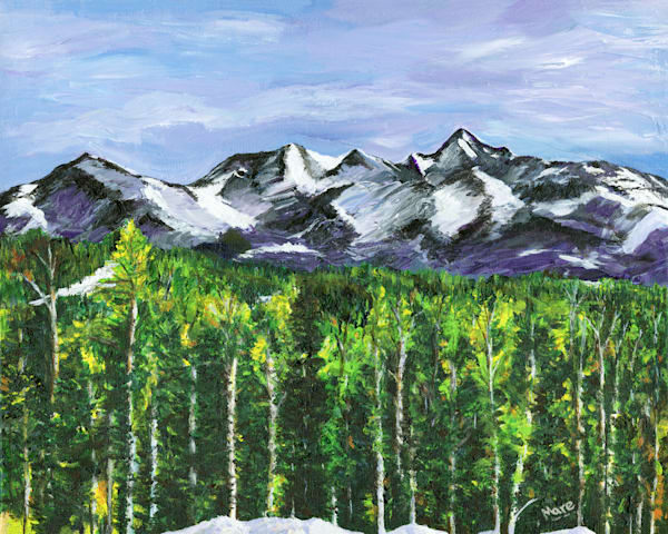 Original artwork by artist Mary Anne Hjelmfelt created with acrylic paint, brush and palette knife of the San Juan mountains near Telluride, CO.