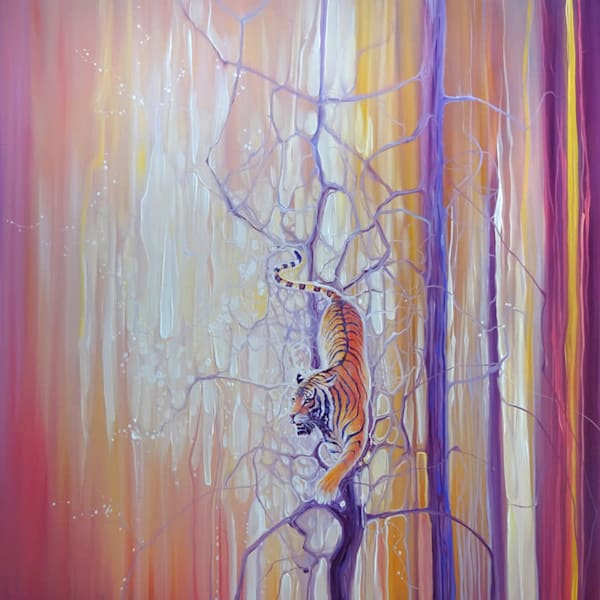 original painting of a tiger on a tree in an art nouveau contemporary abstract painting style with golden light.