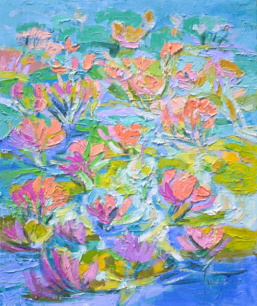 Colorful Water Lily Painting, Original Oil by Dorothy Fagan