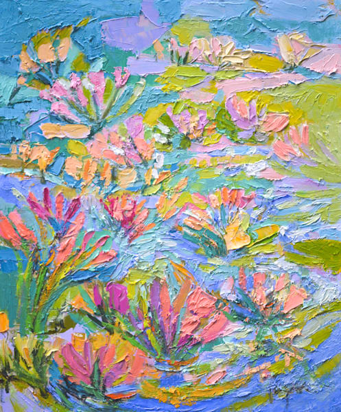 Beautiful Water Lilies Painting, Original Oil by Dorothy Fagan